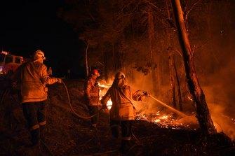 NSW Rural Fire Service volunteers battle a blaze in southern NSW in January 2020.