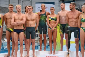 News of a delayed vaccine dose was welcome news for Australia's leading swimmers as they unveiled the Speedo race suits on Thursday.
