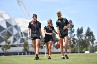 Collingwood's Mark Keane and Anton Tohill, pictured here with fellow Irish recruit Sarah Rowe.