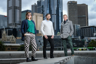 Willow Berzin, from Coalition of Everyone, Sean Trewick, from Circular Economy Victoria, and Kaj Lofgren, from Small Giants Academy, are leading the Regen Melbourne project, based on principles of doughnut economics.