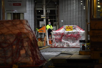 A pallet of Pfizer vaccines is unloaded at the Qantas freight terminal.