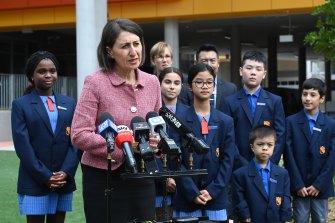NSW Premier Gladys Berejiklian alongside school captains at  the recently opened Peakhurst Public School on Monday.