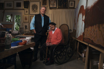 Sydney gallery owner Tim Olsen and his father, artist John Olsen, at John's home and studio in Glenquarry, in the Southern Highlands.