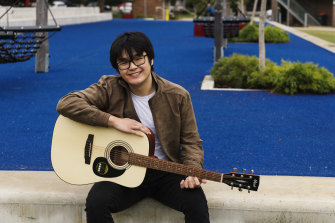 Engineering student Oliver Long bought a guitar to learn during lockdown.