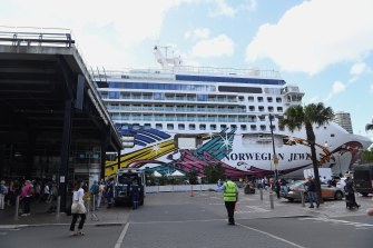 The Norwegian Jewel docked at the Overseas Passenger Terminal in Sydney on Friday.