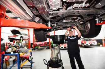 Luke Cefai works on a car in his Ringwood workshop.
