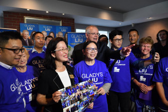 Prime Minister Scott Morrison with Gladys Liu at her campaign launch in April.