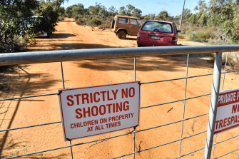 Locked gate: the land in Kaniva owned by Graham Leslie White that contains a massive toxic chemical dump.