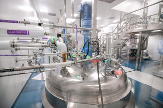 A centrifuge at CSL's new plasma fractionation facility at Broadmeadows, which will increase the company's plasma processing capacity in Australia to 9 million litres a year, from 1.2 million.