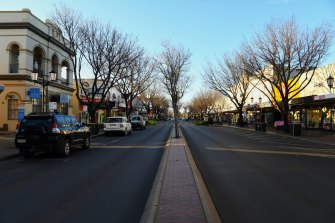 A quiet Macquarie Street in the centre of Dubbo which is normally busy with traffic.