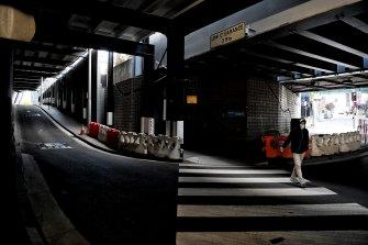 An empty street in Parramatta on Monday.