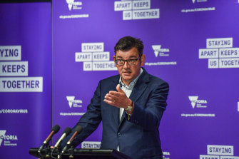Premier Daniel Andrews during the COVID-19 media conference on Saturday.