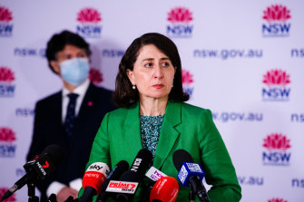 Minister for Customer Service Victor Dominello and Premier Gladys Berejiklian.