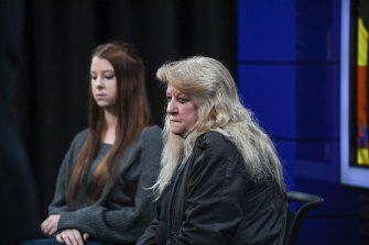 Brendon Farrell's sister Simone Hellyer and mother Valery Hellyer at the police press conference last week.