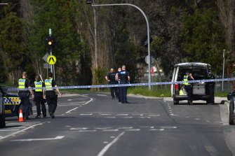 Police block Hutchinson Street in Lilydale after the police shooting.