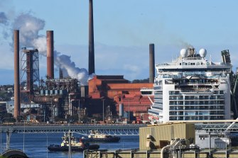 The Ruby Princess docked in Port Kembla on Monday.