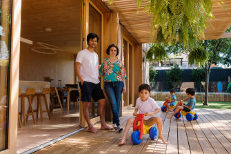 David and Kerri-Anne Hellier with their children at home in Balgowlah.