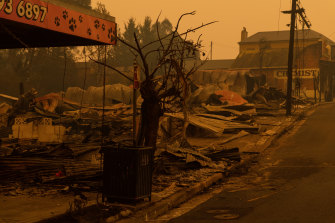 The Cobargo main street a day after fire ripped through.