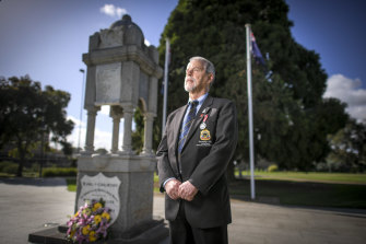Vietnam veteran Warrick McDonald laid wreaths alone at Bentleigh RSL on Friday.