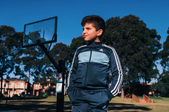 Omar Kahil, 9, is an only child. His mother ordered him a basketball online to play with during lockdown but when it finally arrived, the hoop had been removed from the local park.