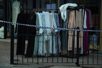 Clothing removed from Hijab House as detectives investigate.