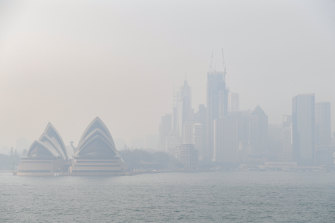 Smoke haze over Sydney caused by the bushfires earlier this year. One silver lining of the fires is that governments were set up to deal with disasters when COVID-19 hit.