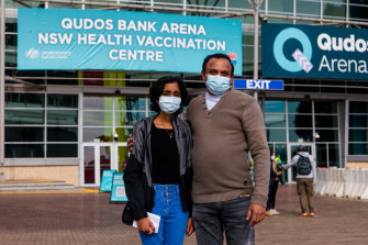 Hannah Minoy with her father Minoy Mathew outside the Qudos Bank Arena.