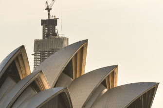 The Barangaroo Crown Casino looms over the Sydney Opera House.