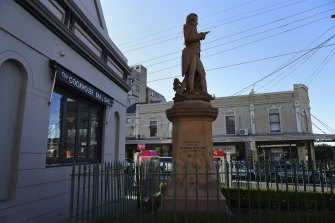 A statue of British explorer Captain James Cook on Belmore Road in Randwick that had been graffitied.