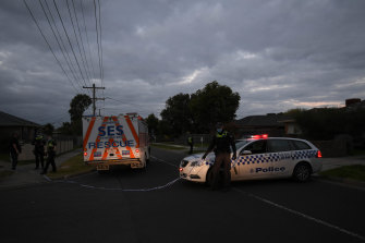 Police at the scene of a police shooting at Gladstone Park on Thursday evening.