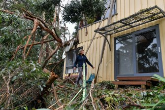Lyn Osborne at her home in Kalorama after the storm.