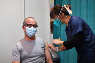 Victoria's acting Premier James Merlino received his second Pfizer COVID-19 vaccination on Wednesday.