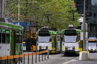 Z-Class trams on Swanston Street.