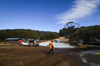 Workers at Mount Baw Baw gearing up for the snow season.