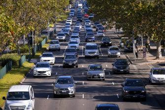 Peak hour traffic on Punt Road on Monday.