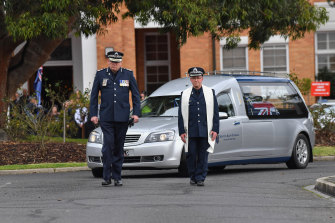 Chief Commissioner Graham Ashton at the funeral of Senior Constable Kevin King. He led from the front following the death of four police in the Eastern Freeway tragedy.