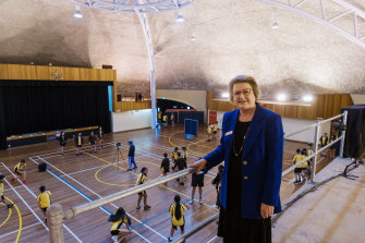 Fairvale High School principal Dr Kathleen Seto in the gymnasium.