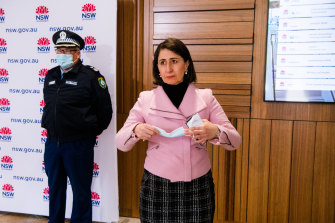 Gladys Berejiklian prepares to give her daily COVID-19 briefing on Wednesday.