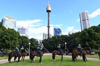 Mounted police in Sydney on July 31. Police are preparing to disrupt an anti-lockdown protest planned for Saturday.