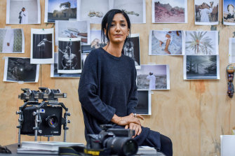 Hoda Afshar, pictured in her Melbourne studio,  travelled to Manus Island in 2018.