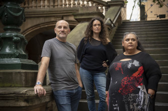 Three Sydney speakers for Monday's March 4 Justice: Michael Bradley, Jess Hill (centre) and Marie Barbaric.
