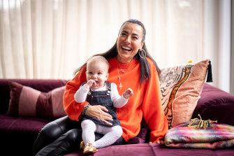 Fiorina Golotta with baby daughter Roma.