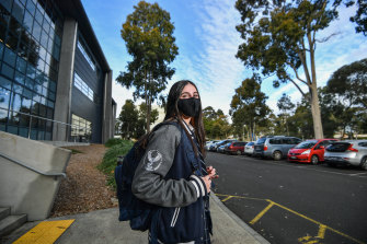 John Monash Science School student Hannah Singh, 17, is one of thousands of VCE students who had what might be their last day of class on campus on Monday, as they prepare to return to remote learning from Wednesday.