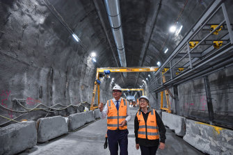 Premier Daniel Andrews and Transport Minister Jacinta Allan inspect works on the Metro Tunnel in February 2020.