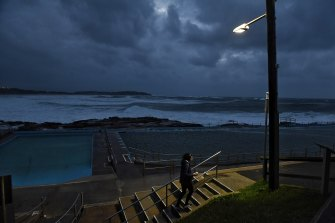 Wind, rain and powerful waves were present at Dee Why Beach on Monday morning.