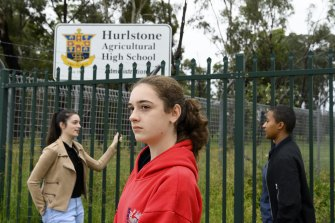 Tiarna Scerri, Taylor Scerri and Sylvia Nanziri. A big chunk of Hurlstone Park Agricultural High School is being sold off for development and the money is being used to fund an upgrade of the school. Many students and alumni are against it.