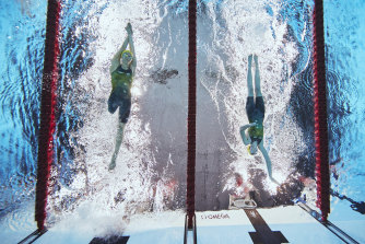 Ellie Cole (left) and Lakeisha Patterson compete in the women's S9 400m freestyle heat.