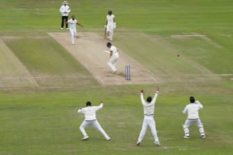 India celebrate the wicket of Rory Burns, bowled by Mohammed Shami after England had resumed at 120 without loss on Thursday.