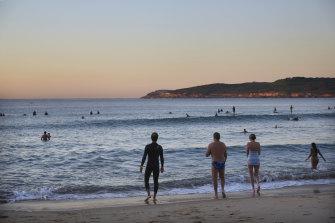 Bathers at Maroubra at dawn on Saturday