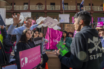Anti-abortion and pro-choice campaigners protest outside NSW Parliament this week, as MPs debate an historic bill to decriminalise abortion.